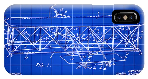 Flying Machine Patent 1903 - Blue IPhone Case