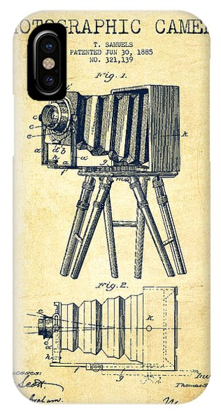 Camera iPhone Case - Photographic Camera Patent Drawing From 1885 by Aged Pixel