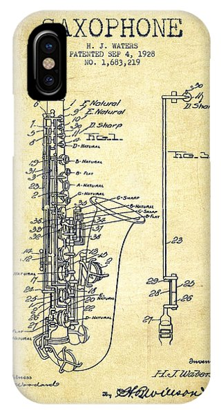 Patent Drawing iPhone Case - Saxophone Patent Drawing From 1928 by Aged Pixel