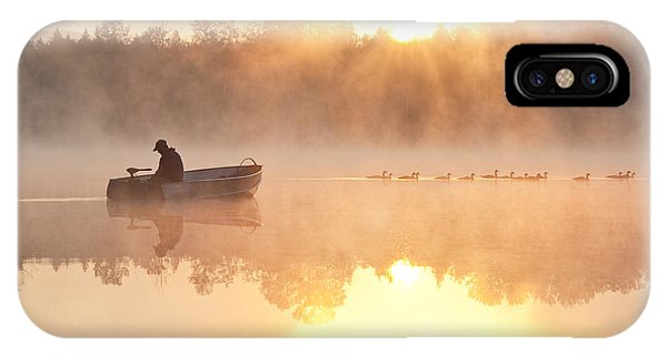 Sunrise In Fog Lake Cassidy With Fisherman In Small Fishing Boat IPhone Case