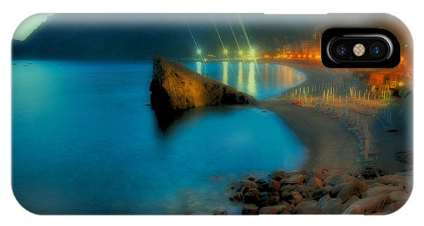IPhone Case featuring the mixed media 5 Terre Monterosso Beach In Passeggiate A Levante by Enrico Pelos