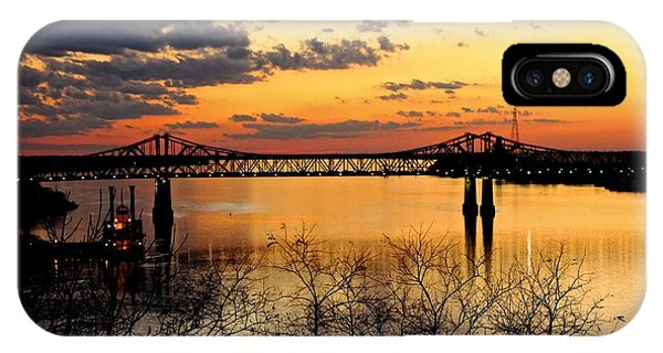 The Mississippi River Bridge At Natchez At Sunset.  IPhone Case