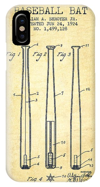 Vintage Baseball Bat Patent From 1924 IPhone Case