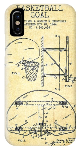 Vintage Basketball Goal Patent From 1944 IPhone Case