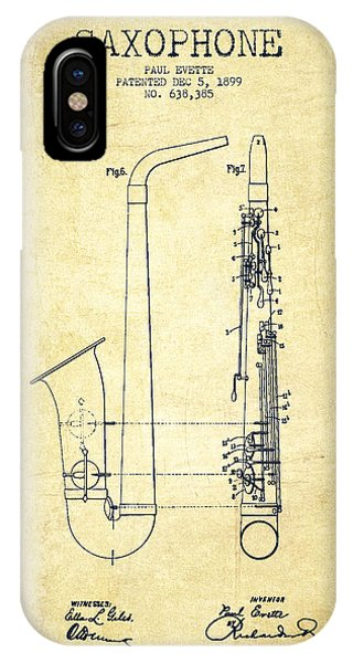 Saxophone iPhone X / XS Case - Saxophone Patent Drawing From 1899 - Vintage by Aged Pixel