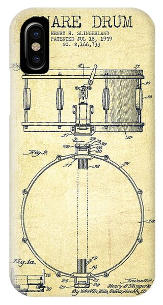 Drum iPhone Case - Snare Drum Patent Drawing From 1939 - Vintage by Aged Pixel