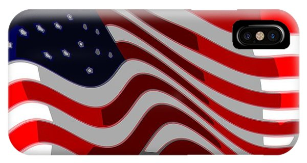 4th July iPhone Case - 50 Star American Flag Closeup Abstract 6 by L Brown