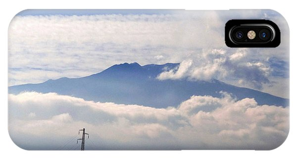 Mt Etna iPhone Case - View Of Mt. Etna From Taormina Sicily by Richard Rosenshein