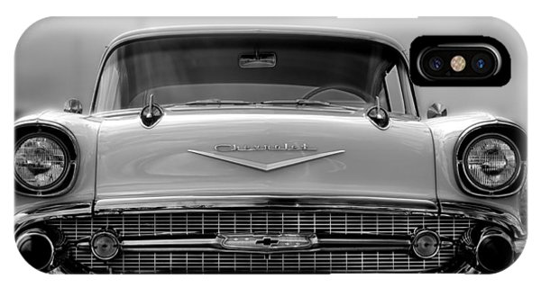 57 Chevy Full Frontal In Bw Phone Case by Don Durante Jr