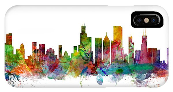 City Scenes iPhone Case - Chicago Illinois Skyline by Michael Tompsett