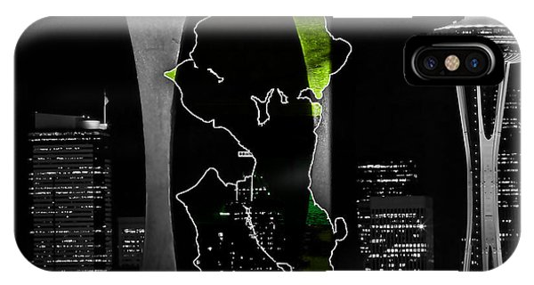Seattle Map And Skyline Watercolor IPhone Case