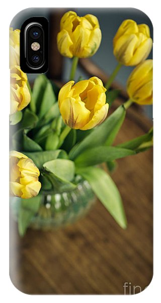 Tulip iPhone X / XS Case - Still Life With Yellow Tulips by Nailia Schwarz
