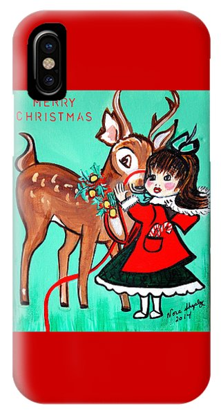 Little Girl With Reindeer IPhone Case