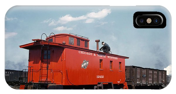 Red Caboose iPhone Case - Chicago Railroad, 1943 by Granger