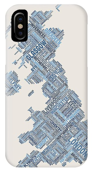Great Britain Uk City Text Map IPhone Case