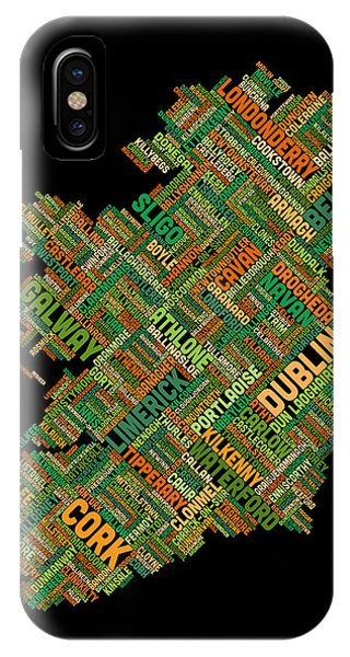 Irish iPhone Case - Ireland Eire City Text Map by Michael Tompsett
