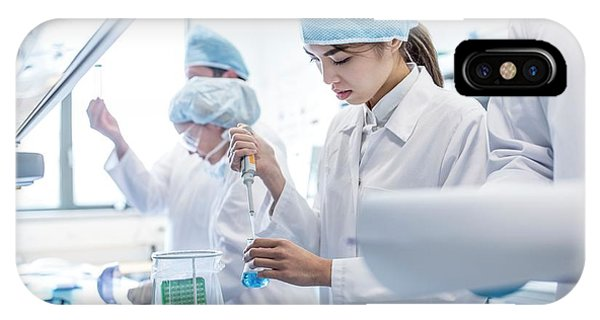 Scientists Working In Lab Phone Case by Science Photo Library