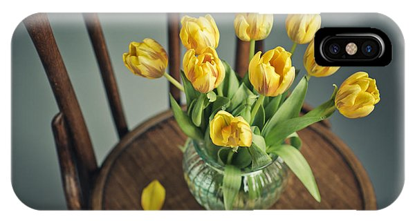 Tulip iPhone Case - Still Life With Yellow Tulips by Nailia Schwarz