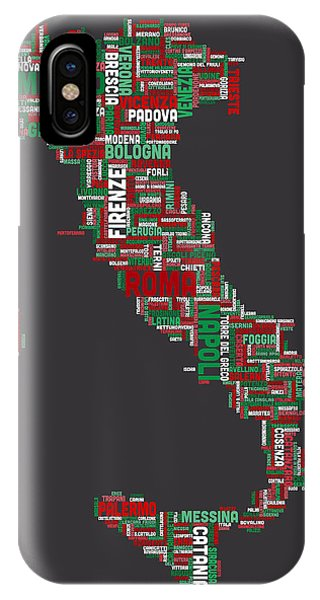 Text Map Of Italy Map IPhone Case