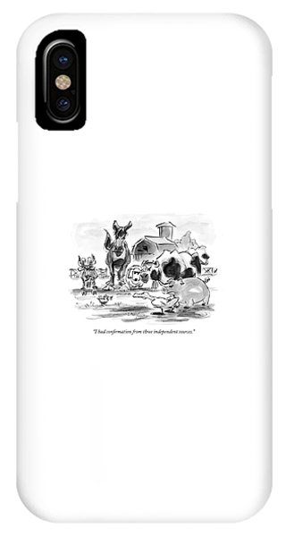 Barnyard Animals iPhone Case - I Had Confirmation From Three Independent Sources by Lee Lorenz