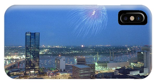 7403 Toledo Twilight Ohio Fireworks Over Maumee River IPhone Case