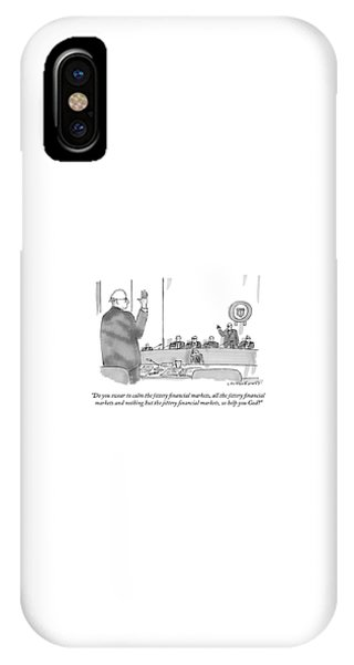 Finance iPhone Case - Do You Swear To Calm The Jittery Financial by Michael Crawford