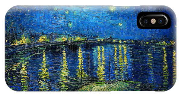 IPhone Case featuring the painting Starry Night Over The Rhone by Vincent van Gogh