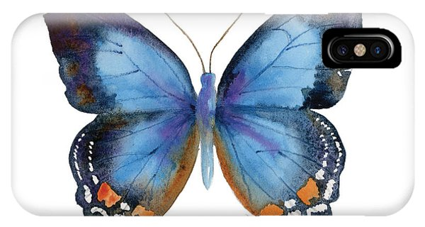 Blue And White iPhone Case - 80 Imperial Blue Butterfly by Amy Kirkpatrick