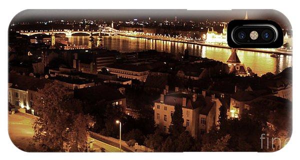 Budapest Hungary Night Panorama IPhone Case