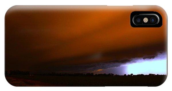 Nebraskasc iPhone Case - Late Night Nebraska Shelf Cloud by NebraskaSC