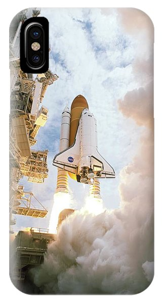 Liftoff iPhone Case - Space Shuttle Final Flight by Nasa/science Photo Library