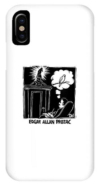 Raven iPhone Case - Edgar Allen Prozac by Drew Dernavich