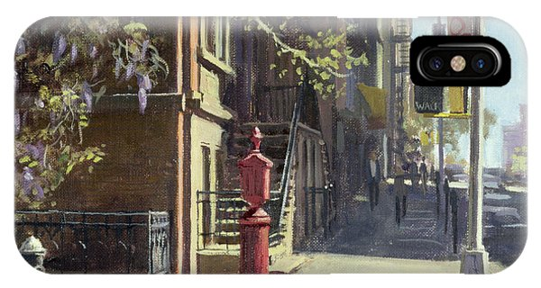 Brownstone iPhone Case - 91st Street At Lexington Avenue Oil On Canvas by Julian Barrow
