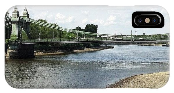 London Bridge iPhone Case - Hammersmith Bridge At Low Tide by Glynne Jones
