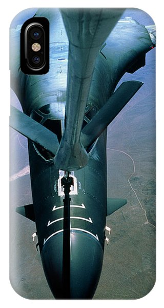Bomber iPhone Case - A B-1 Bomber Undergoing Aerial Refueling by Peter Menzel/science Photo Library