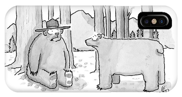 Smokey iPhone Case - A Bear Wearing A Ranger Hat Addresses Another by Leo Cullum