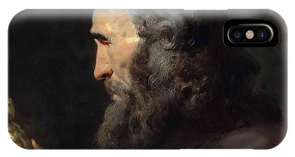 iPhone Case - A Bearded Man In Profile Holding A Bronze Figure by Viktor Birkus