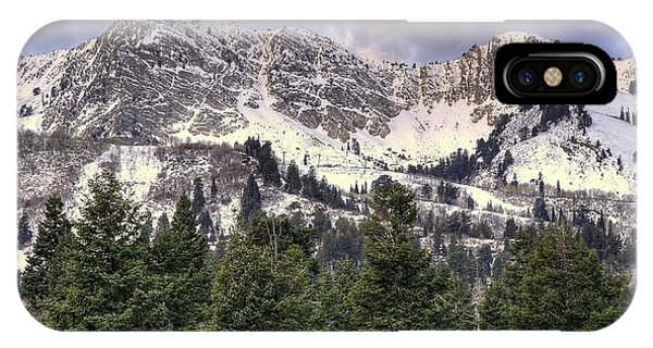 Treeline iPhone Case - A Beautiful View Of Mount Ogden From Snowbasin 2/1 Pano by Ryan Smith