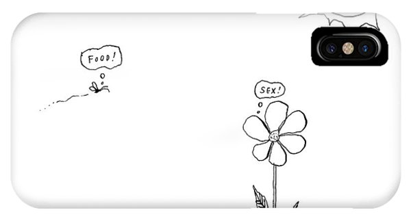 A Bee Thinking  Food! And A Flower Thinking  Sex! IPhone Case