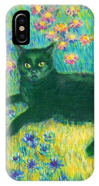A Black Cat On Floral Mat IPhone Case