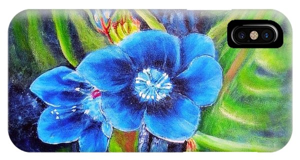 Exotic Blue Flower Prize For Blue Dragonfly IPhone Case
