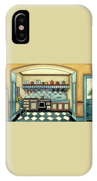 A Blue Kitchen With A Tiled Floor IPhone Case