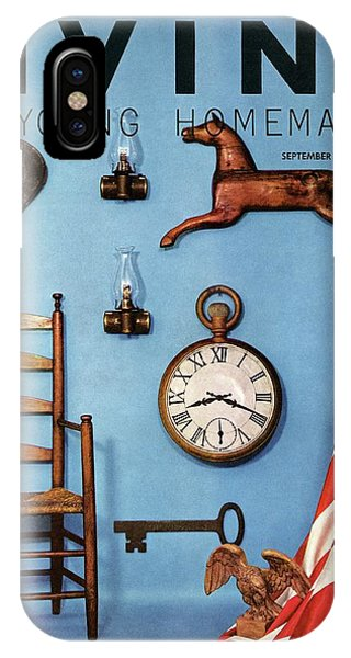 A Blue Wall With Decorations IPhone Case