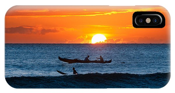 A Boat And Surfer At Sunset Maui Hawaii Usa IPhone Case