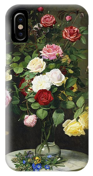Wild Life iPhone Case - A Bouquet Of Roses In A Glass Vase By Wild Flowers On A Marble Table by Otto Didrik Ottesen