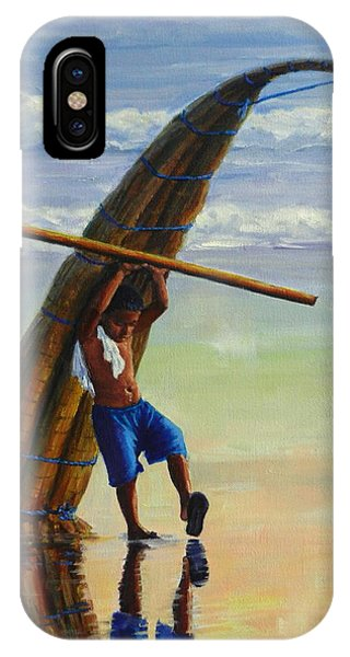 A Boy And His Caballito De Totora, Peru Impression IPhone Case