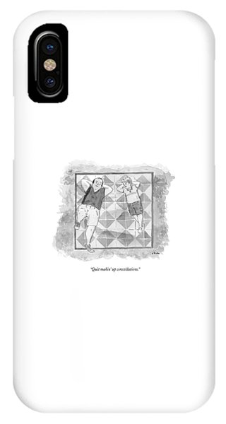 A Boy And His Father Look Up At The Stars IPhone Case