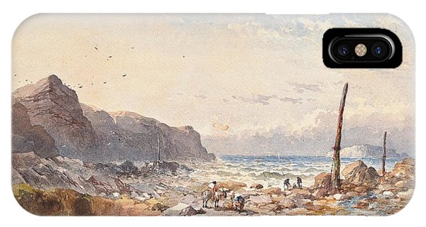Ocean Breeze iPhone Case - A Breezy Day With Fisherfolk On The Foreshore by William Cook of Plymouth