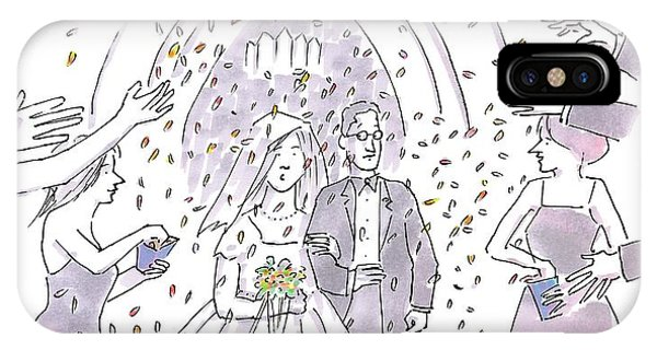 Highway iPhone Case - A Bride And Groom Are Seen Talking As People by Michael Crawford