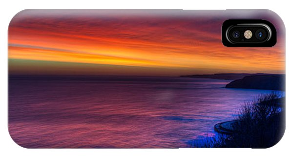 A Bright Colored Sunrise Panoramic At Scarborough Uk IPhone Case